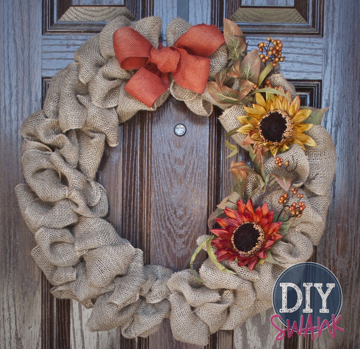 Fall Burlap and Sunflower Wreath