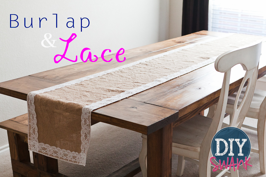 Diy burlap and lace table runner tutorial diy swank - Runner tavola fai da te ...