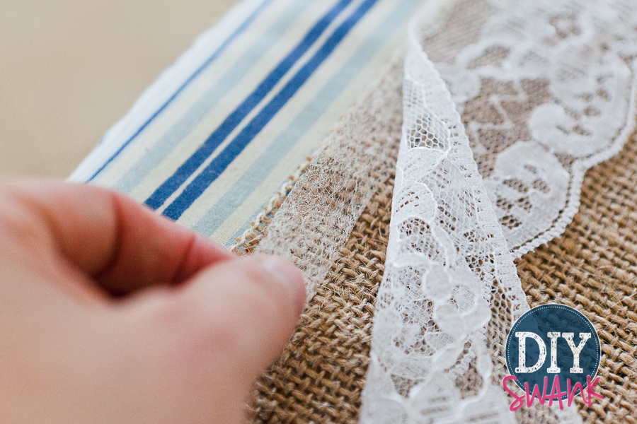 Diy Burlap And Lace Table Runner Tutorial Swanky Design Company