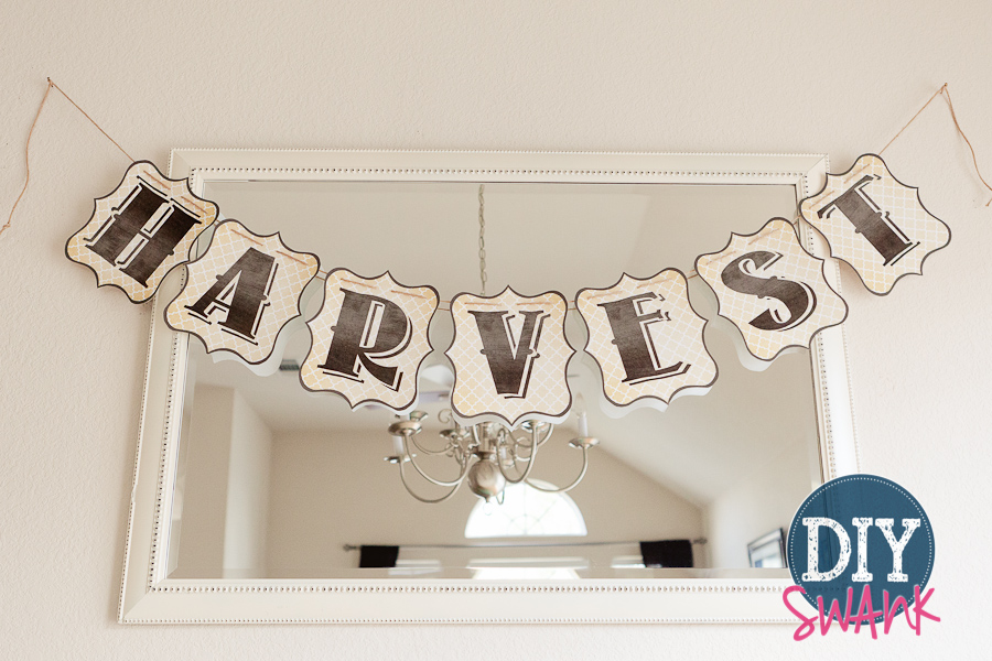 image relating to Fall Banner Printable known as Cost-free Printable Letters-Do it yourself Harvest Banner Do-it-yourself SWANK