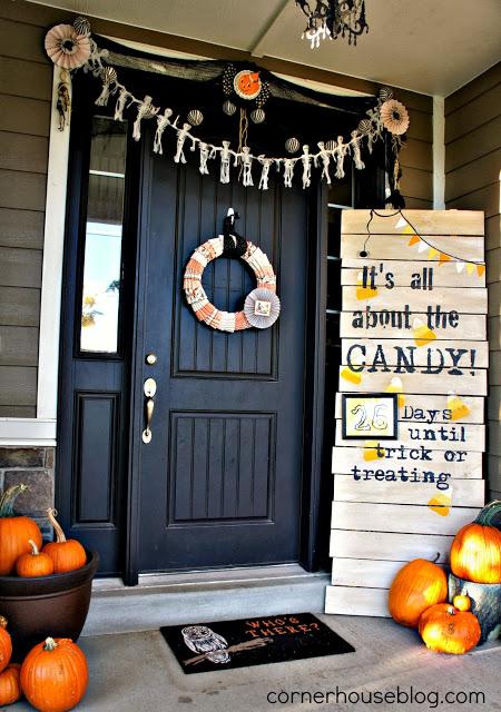corner house halloween front door