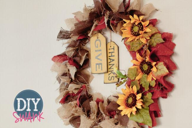 Diy burlap rag wreath tutorial diy swank