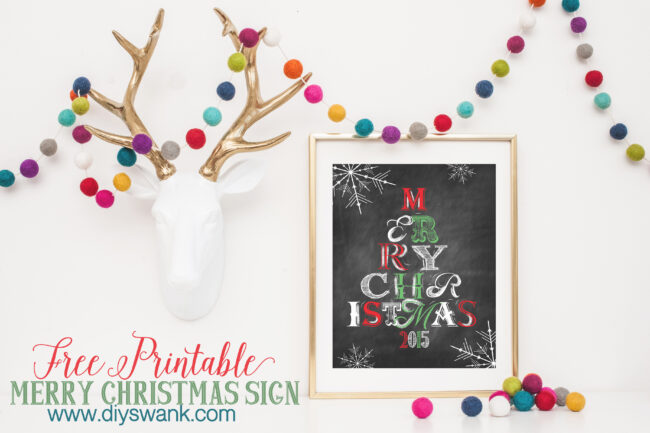Merry Christmas Chalkboard Printable
