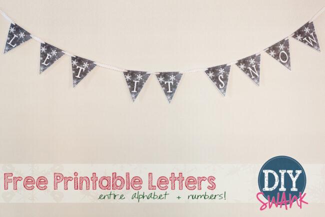 Free Printable Snowflake Chalkboard Letters!