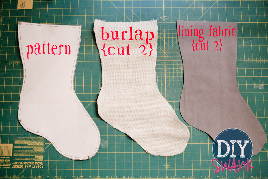 Burlap Stockings Part - 46: A Simple No Cuff DIY Burlap Stocking Tutorial.