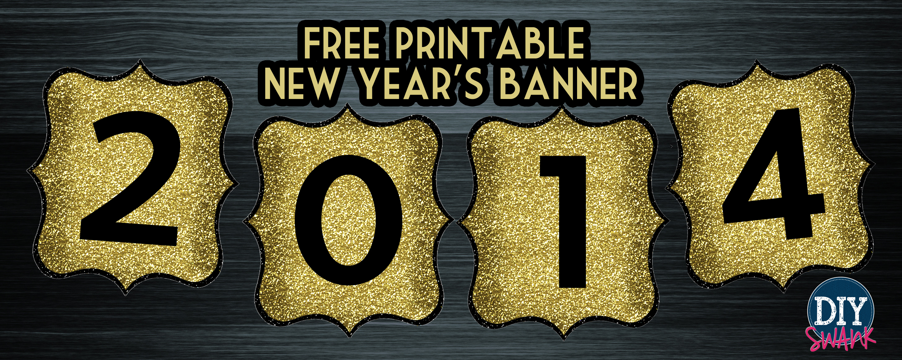 It is an image of Modest Happy New Years Banner Printable