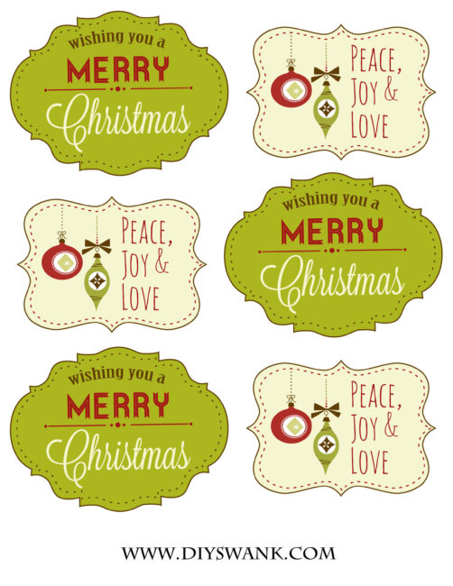Green and Red Christmas Tags
