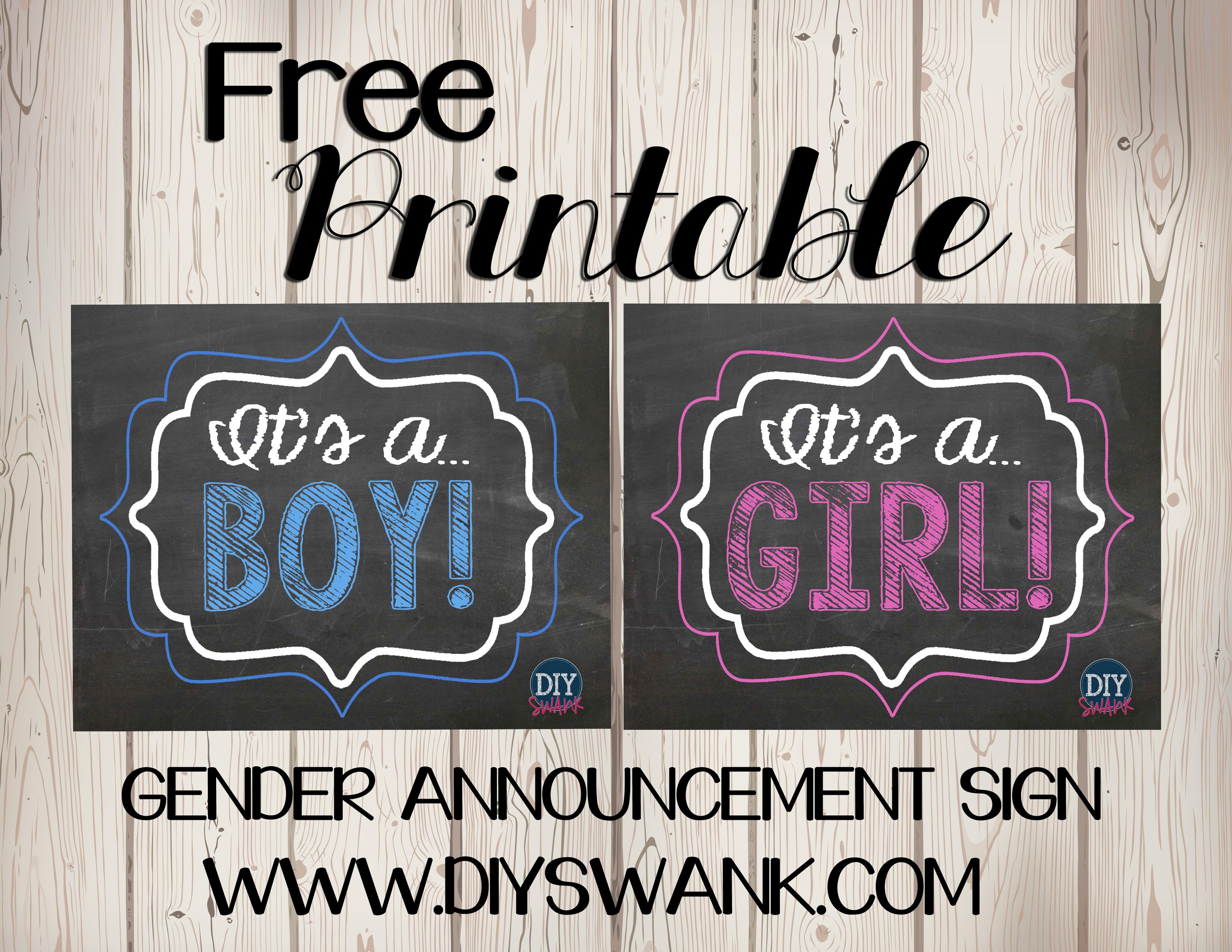 Gender Reveal Free Printables Diy Swank