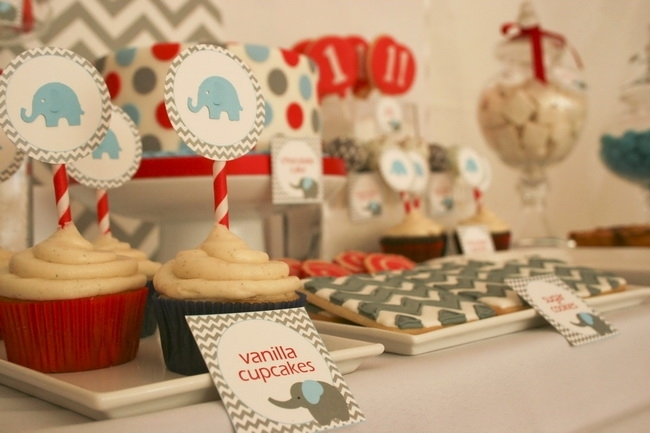 Baby Elephant Boy Birthday Party Dessert Table 46