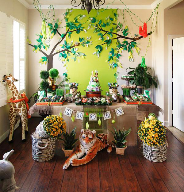 Jungle Themed Birthday Party Dessert Table