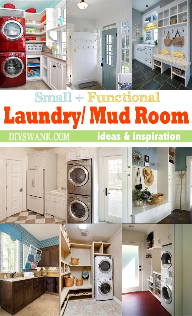 Ideas + photo inspiration for using space wisely to create function in a small laundry + mud room.