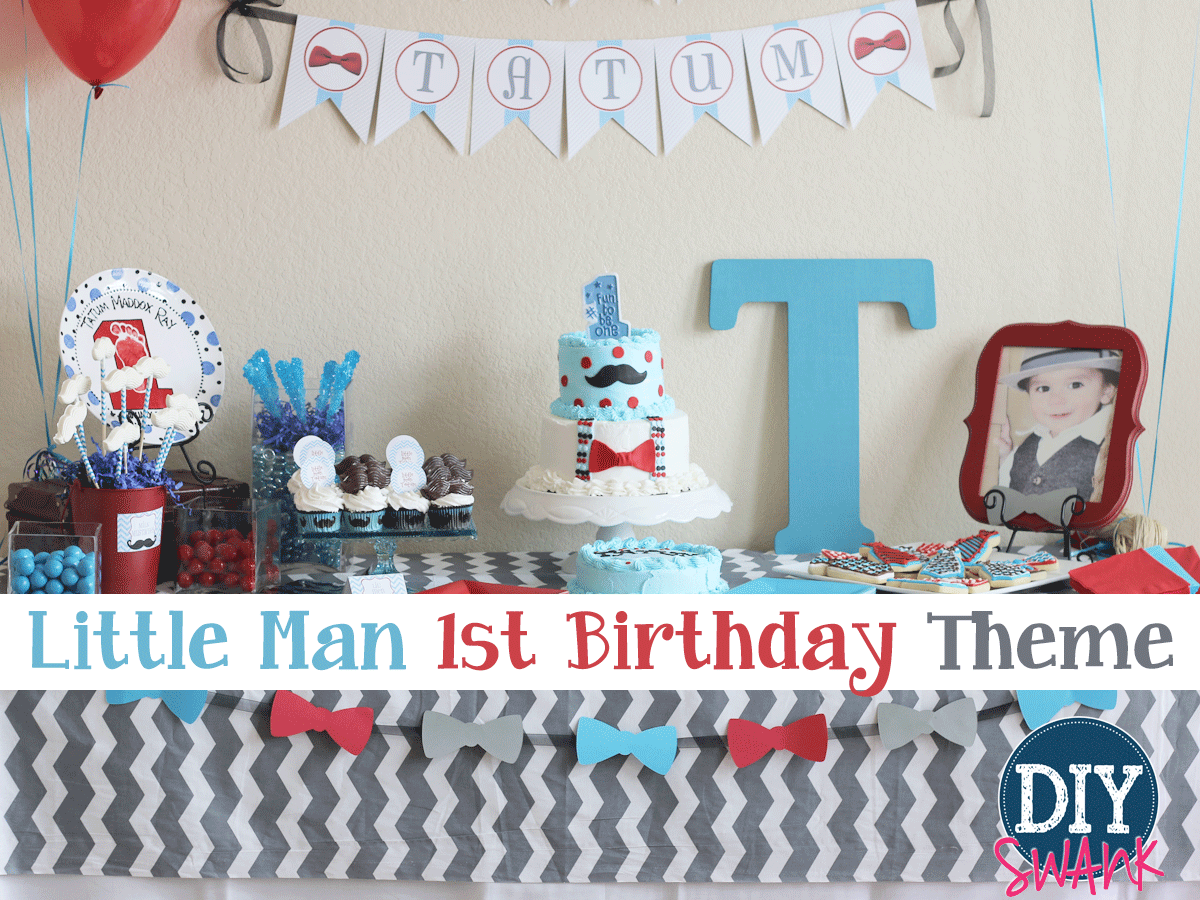 Fabulous Little Man First Birthday Party Swanky Design Company Birthday Cards Printable Trancafe Filternl