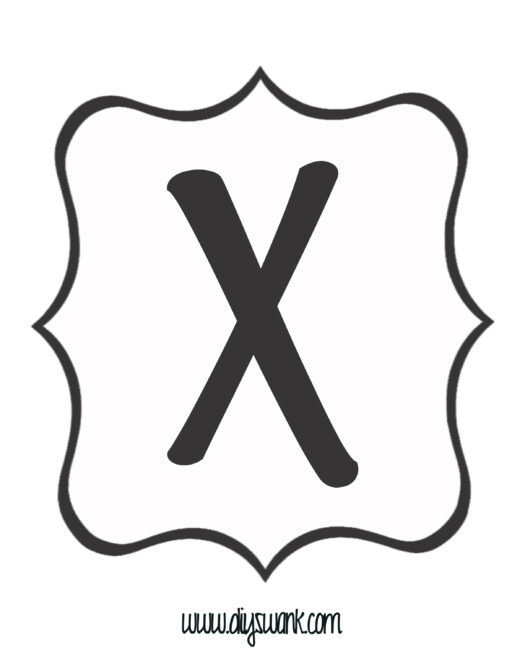 White and Black Letter_X
