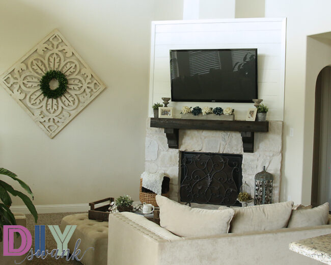 White Stone Fireplace with Shiplap