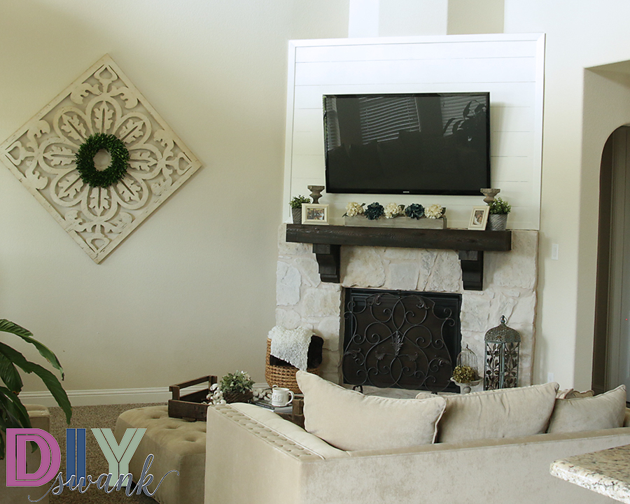 Completely new DIY Faux Shiplap Fireplace Tutorial + Giveaway | DIY SWANK PB52