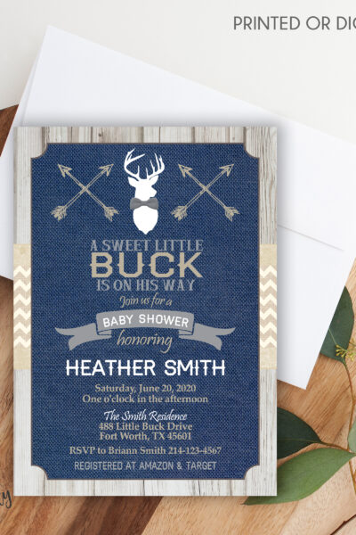 Little Buck Navy Baby Shower Invitation