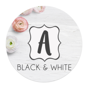black and white banner letters