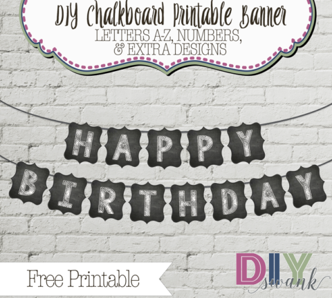 graphic regarding Printable Chalkboard Letters known as Chalkboard Letters for Banners-Cost-free Printable Do it yourself SWANK