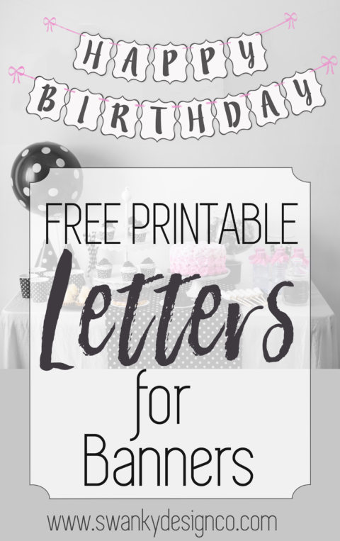 picture about Happy Birthday Printable Letters named Absolutely free Printable Black and White Banner Letters Do it yourself SWANK